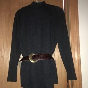 Grey knit skirt set